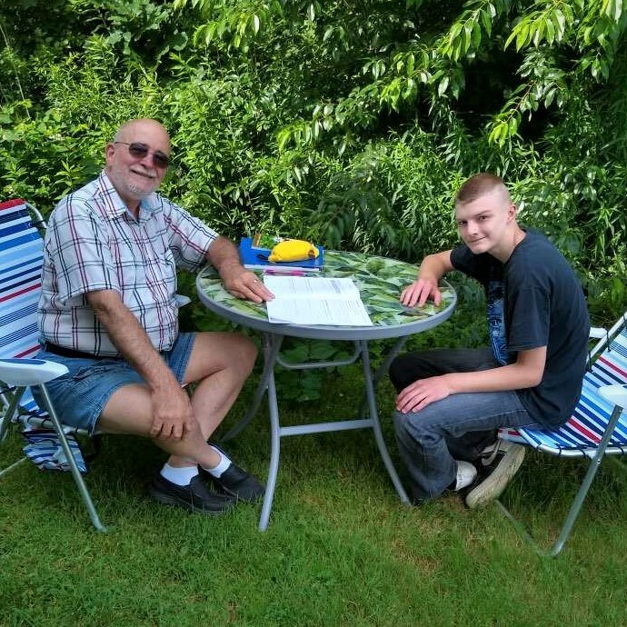 Jeremy & Jim tutoring outdoors